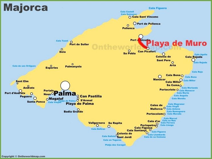 Playa De Muro Location On The Majorca Map Cala Bona Cala Millor