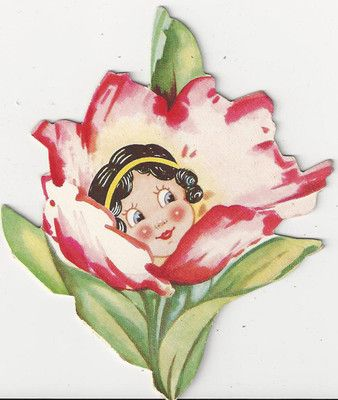 430 Flapper Flower Girl Vintage Die Cut Valentine Card  eBay