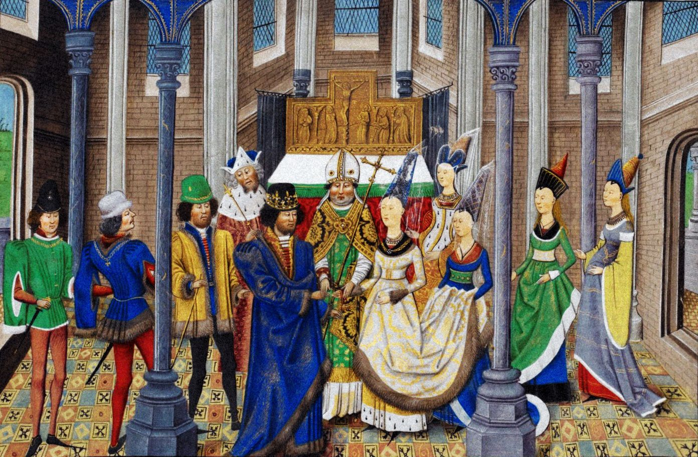 Casamento de D: JOÃO I (1357-1433), O de Boa Memória, com D. FILIPA DE LENCASTRE (1359-1415). D. João I reinou desde 1385 até sua morte.