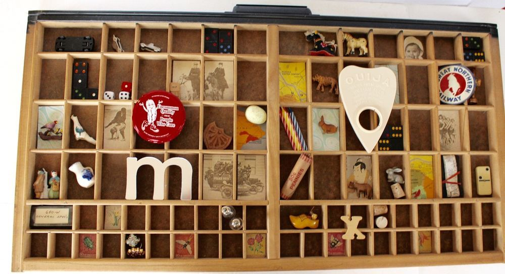 """VTG Printers Drawer 32x16"""" Wooden Wood Tray Letterpress Type Case & Collectibles"""