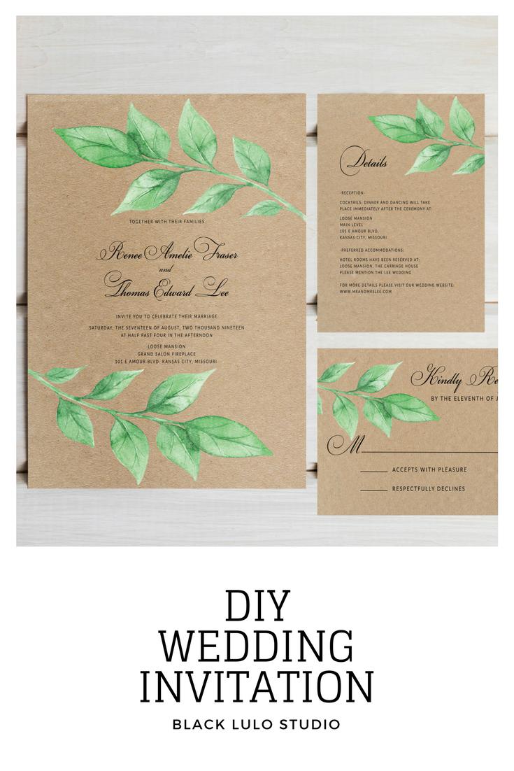 Greenery wedding invitation set. Printable wedding