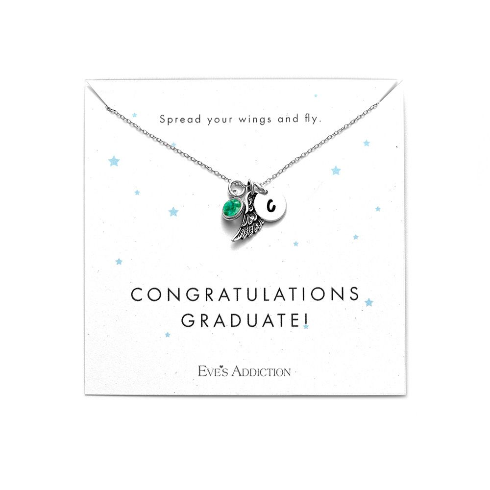 Personalized Spread Your Wings Graduation Necklace