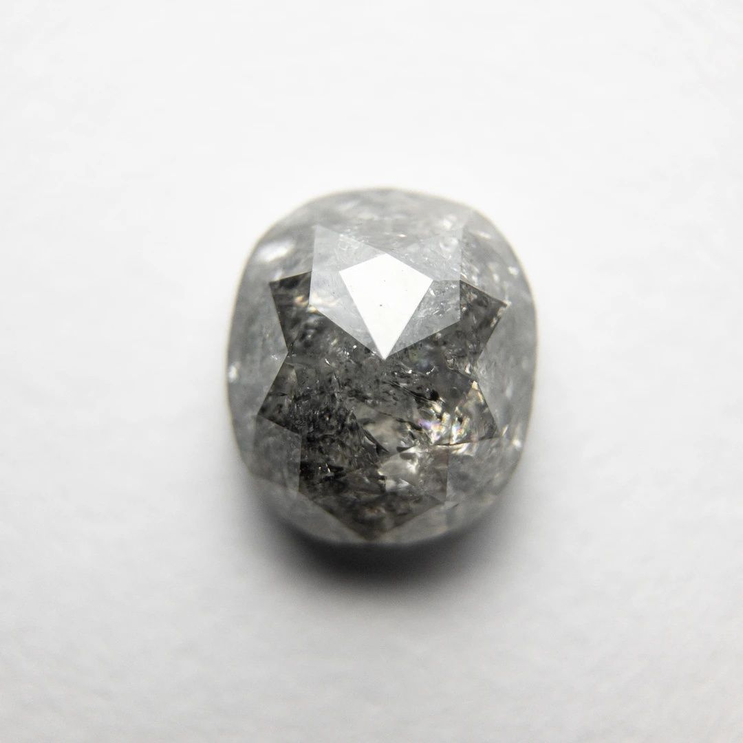 5.3mm0.94CTW Clear WhiteBlack Cushion Shaped Salt And Pepper Faceted Rose Cut Diamond Loose Cabochon For Ring DDS65912