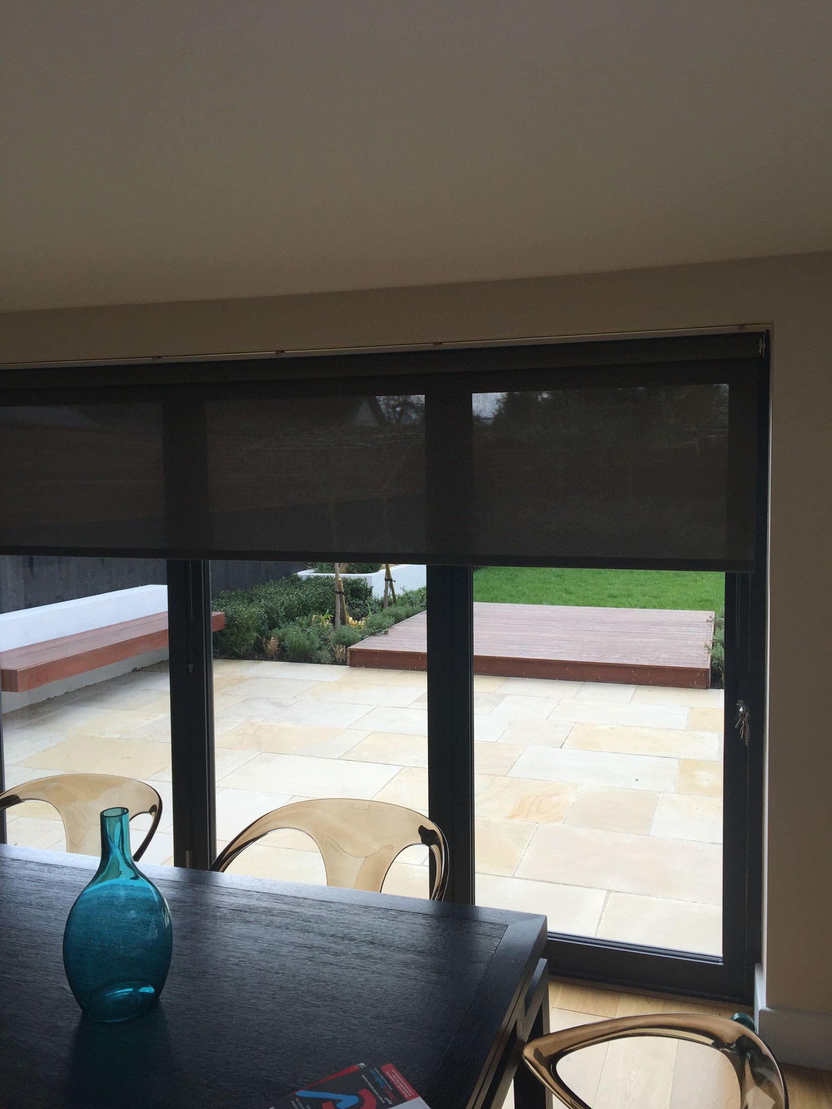 Roller Blind In Sunscreen Fabric Ideal For Large Doors With