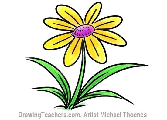 How to draw a flower step by step this cartoon flower is for How to draw a basic flower