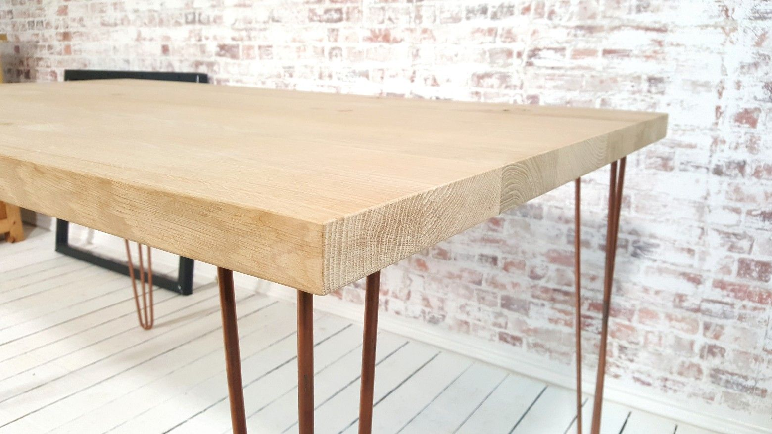 Industrial Oak Hairpin Dining Table And Benches Modern Rustic