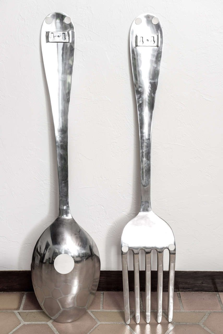 Lovely big fork and spoon wall decor decorative pinterest lovely big fork and spoon wall decor ppazfo
