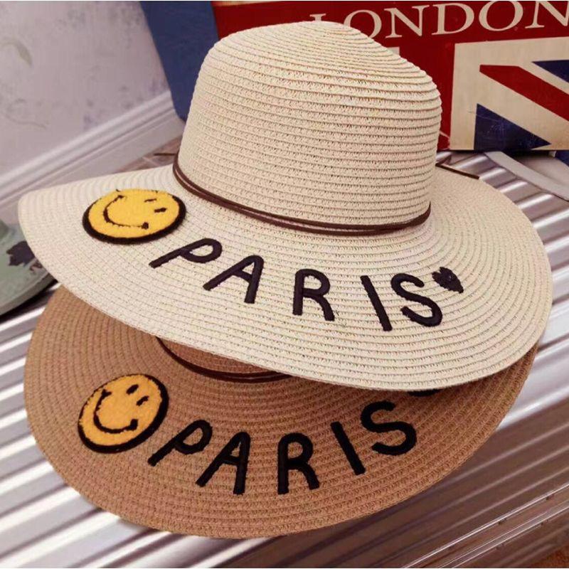 Click to Buy    Hot sale Paris letter Seaeside sun hats for kids ... 9e6674be277e