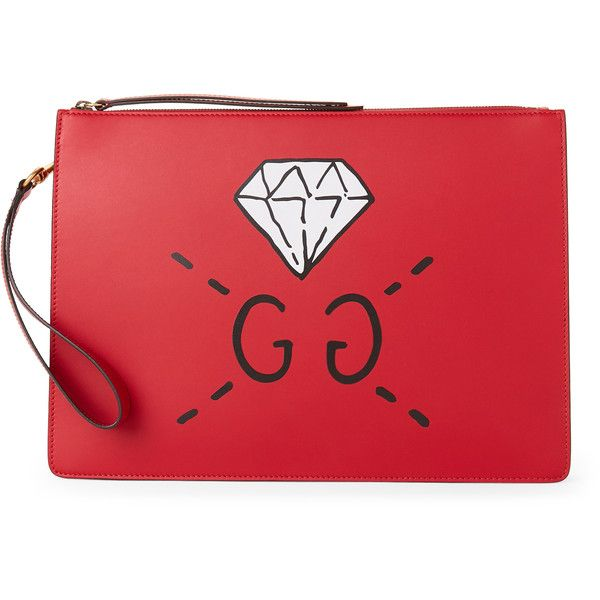 b0df4c8b093aa1 Gucci Red Leather Diamond Logo Messenger Bag ($800) ❤ liked on Polyvore  featuring men's