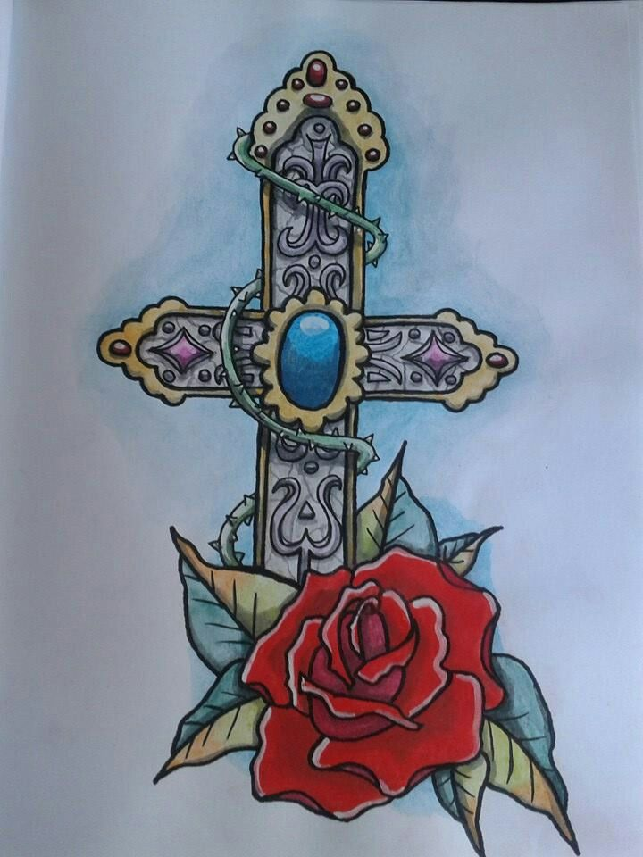 Old school cross and rose