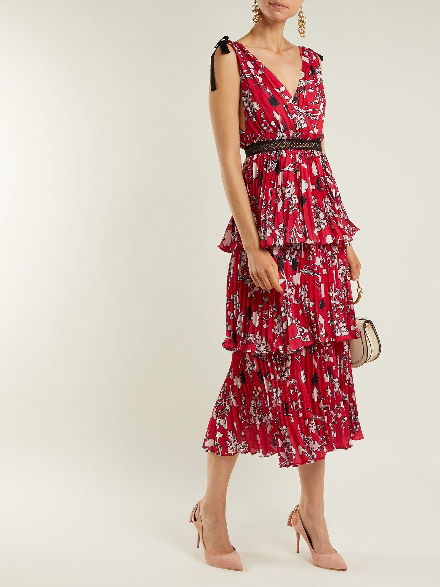 5202756983fa Pleated floral-print midi dress | Self-portrait | MATCHESFASHION.COM ...