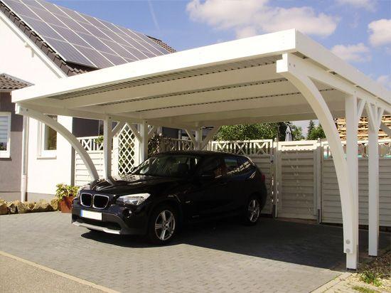 Carport 510x510 Cm Fichte 2 Leimholzbogen Vom Kunden Weiss Gestrichen Carport Selber Bauen Carport Mit Schuppen