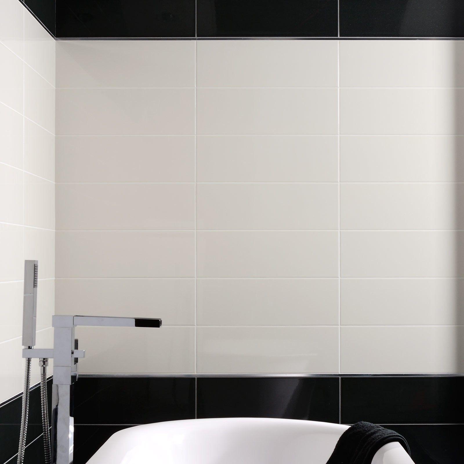 Rays White Wall Tile - Black And White Bathroom Ideas - White Tiles ...