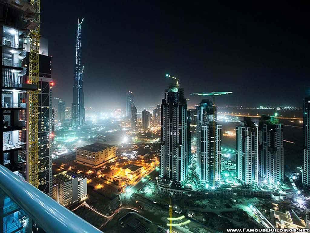 night view dubai world famous buildings wallpaper | architectures