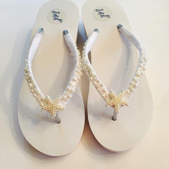 89b2fbfce Wedding Flip Flops Bridal Flip Flops  Wedges. White Bridal Shoes.Beach  Wedding Shoes. Wedding Sandals. Starfish Flip Flops