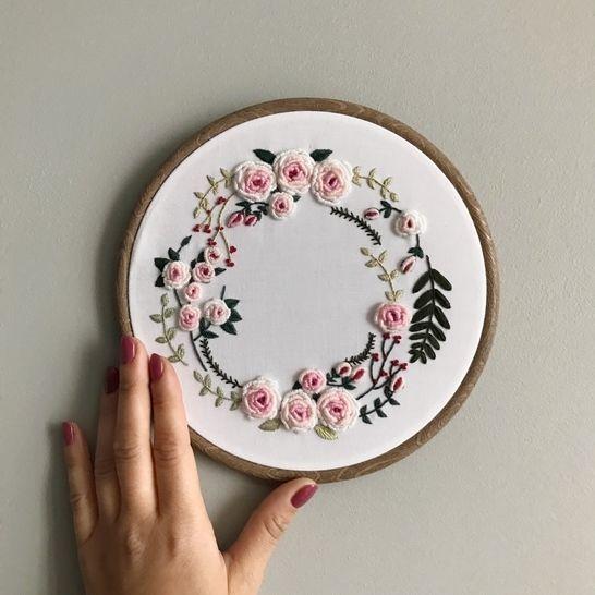 Flower Wreath Embroidery Pattern  – d i y