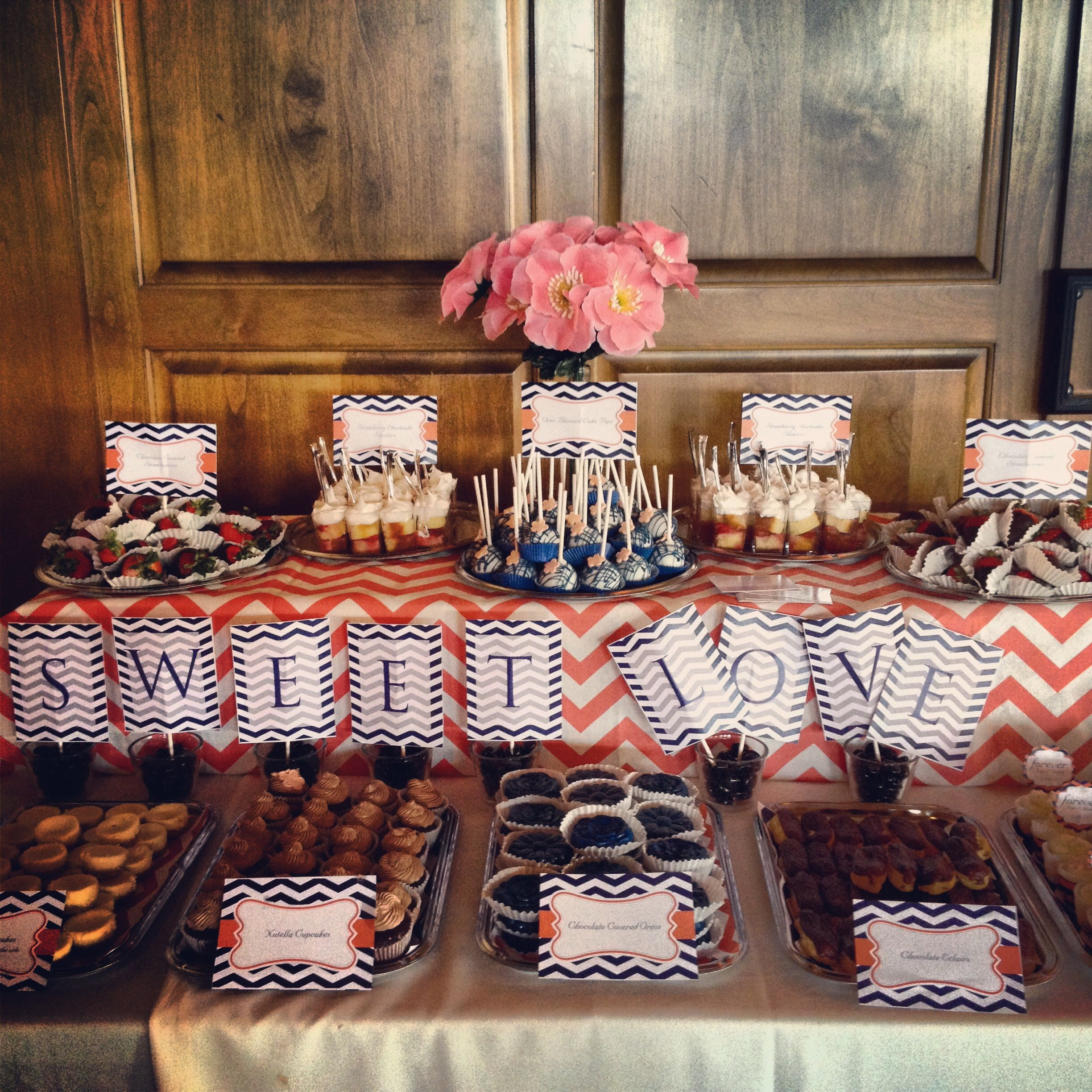 navy blue and coral dessert table itsasweetthingdesserts com cute sign but in a less nauseating pattern