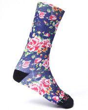 Men - Blue Floral Crew socks