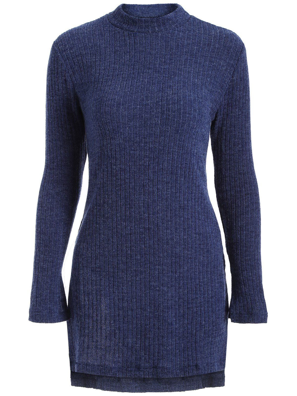 High Neck Side Slit Tunic Sweater - DEEP BLUE L