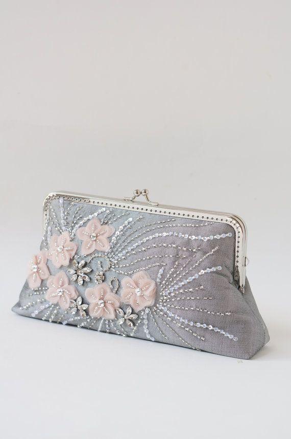 Gray Rhinestone Evening Clutch Bag