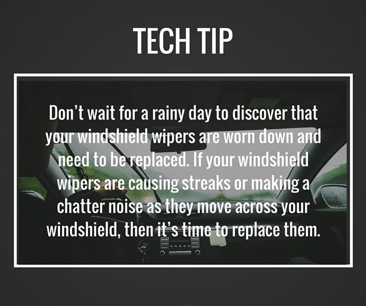 Do your wiper blades need replaced? Stop in today for a new set. #TechTip