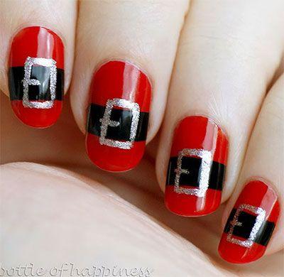 10 Santa Belt Nail Art Designs Ideas Trends Stickers 2015 Xmas Nails Santa Nails Xmas Nails Cute Christmas Nails