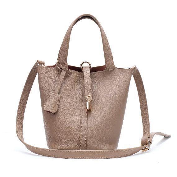 d201ddb0f9e Real Leather Handbag Monogram Bucket Bag by LoverOfLuxe on Etsy ...