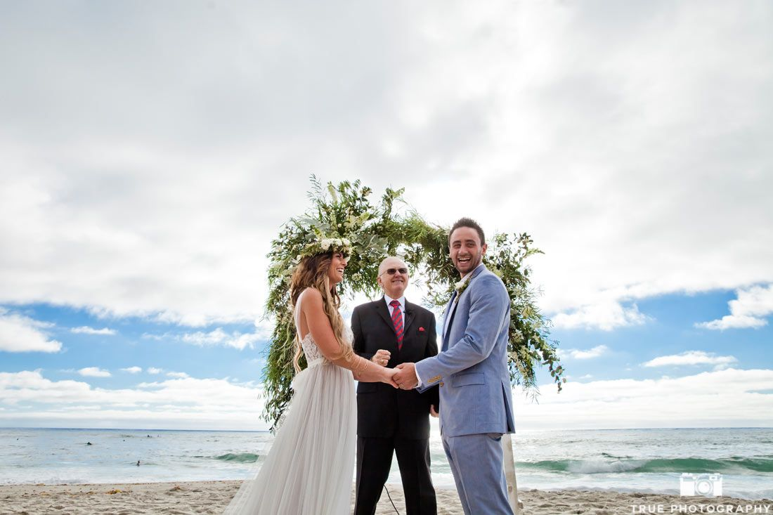True Photography Captures A Seaside Wedding At Windansea Beach In La Jolla California The Bride Wore An Ethereal Dress And Flower Crown