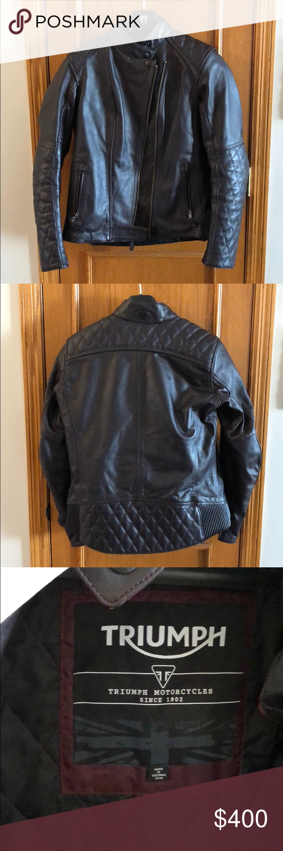 Triumph Leather Andorra Motorcycle Jacket Like New Triumph Leather Jacket Leather Jackets Women Triumph Motorcycle Jacket [ 1740 x 580 Pixel ]