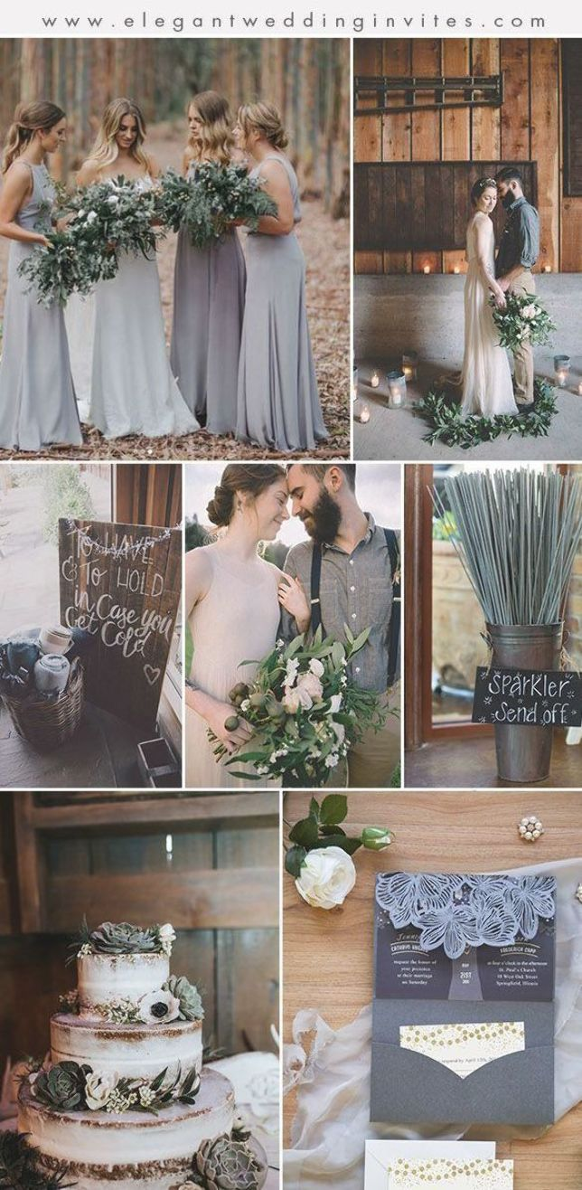 shades of muted grey and brown earth tone fall and winter wedding colour palette #winterwedding