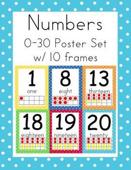 Ten Frame Posters 0 30 In 3 Sizes Ccss Polka Dot Teaching Math Preschool Math Kinder Math