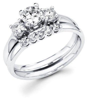 Example Of 5 Stone Wedding Band With Three Stone Engagement Ring Wedding Rings Round Three Stone Engagement Rings Round Diamond Wedding Rings