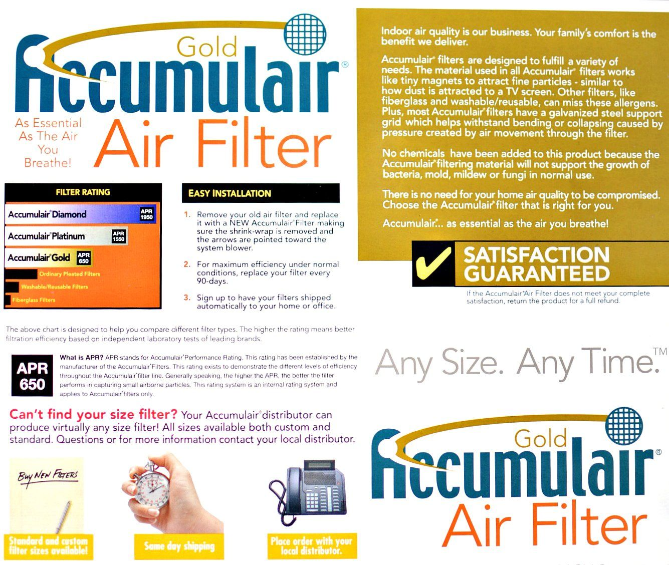 Accumulair Gold 20x36x0.5 Actual Size MERV 8 Air Filter