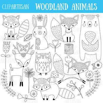 Woodland Animals Clip Art Forest Animals Coloring Activity Woodland Animals Woodland Animal Prints Animal Doodles