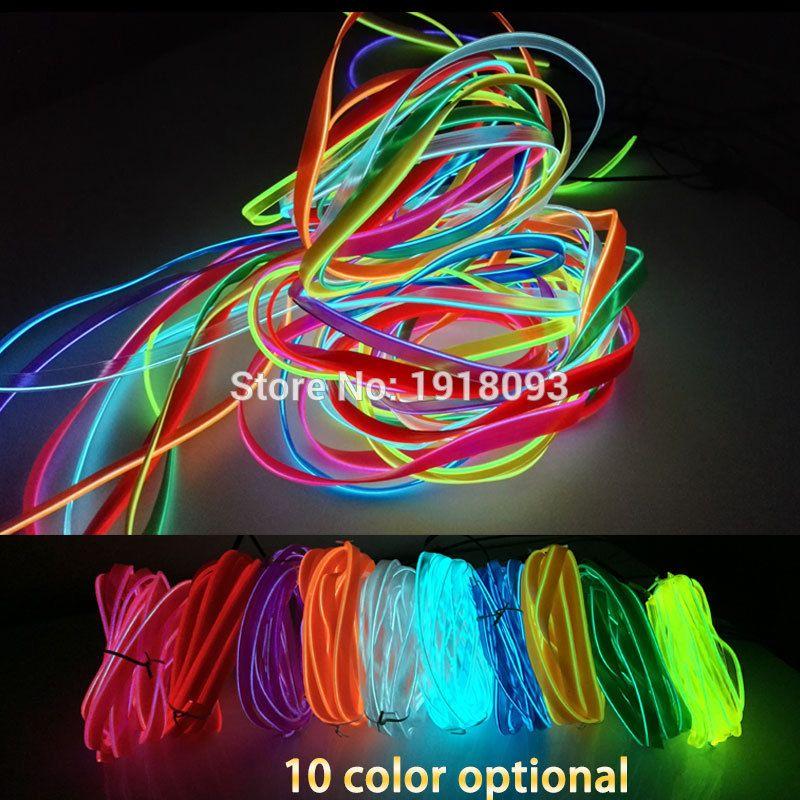 LED Strip EL Wire Tube Rope Flexible Neon Light 2.3mm-skirt 1-25 ...