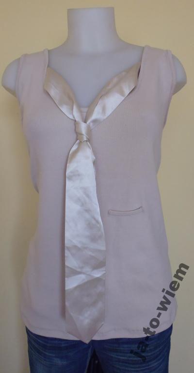 Lecomie Sliczna Bluzka Z Krawatem Rozmiar 54 4610936587 Oficjalne Archiwum Allegro Sleeveless Top Fashion Tops