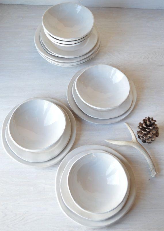 Hey J Ai Trouve Ce Super Article Sur Etsy Chez Https Www Etsy Com Ca Fr Listing 222617017 Whit Ceramic Dinnerware Ceramic Dinnerware Set Dinnerware Pottery