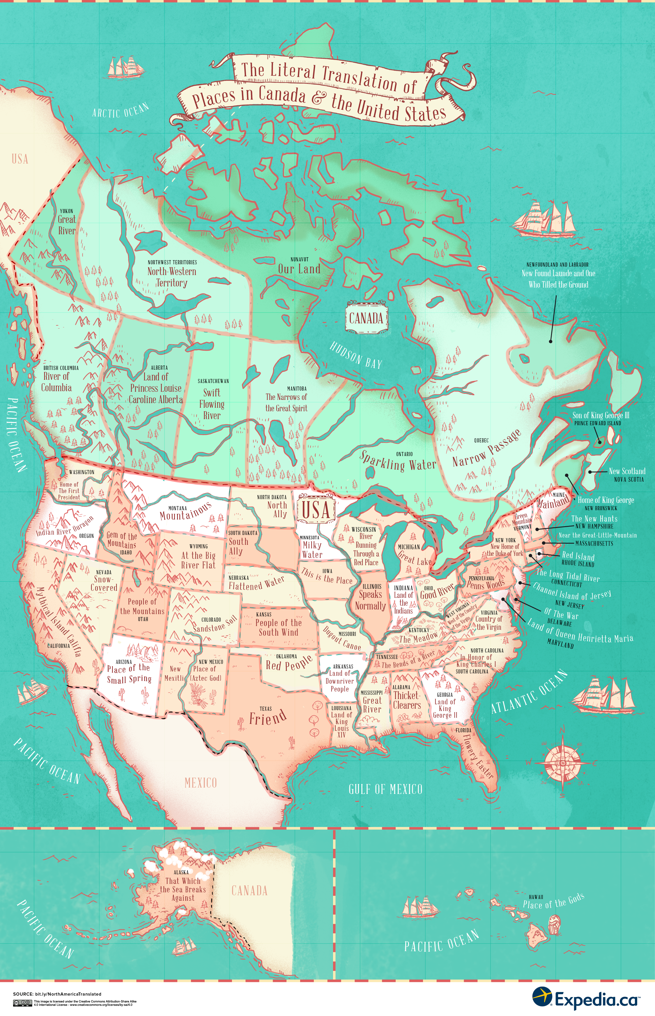 The literal translation of places in the United States and Canada