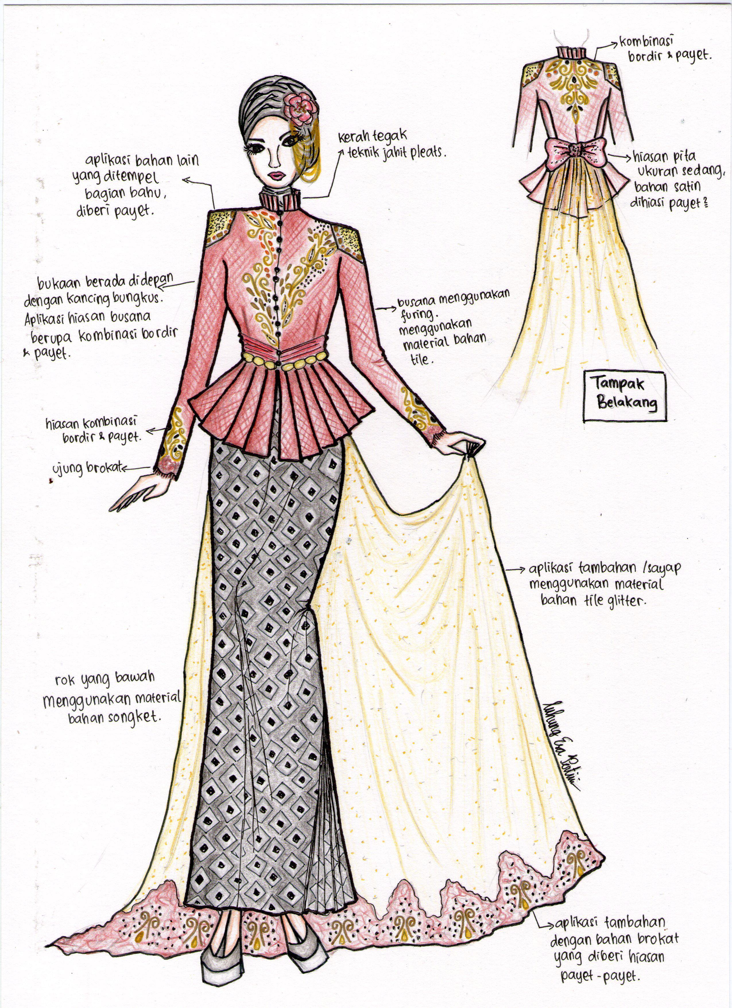 the graceful kebaya  Pakaian wanita, Sketsa model pakaian, Desain