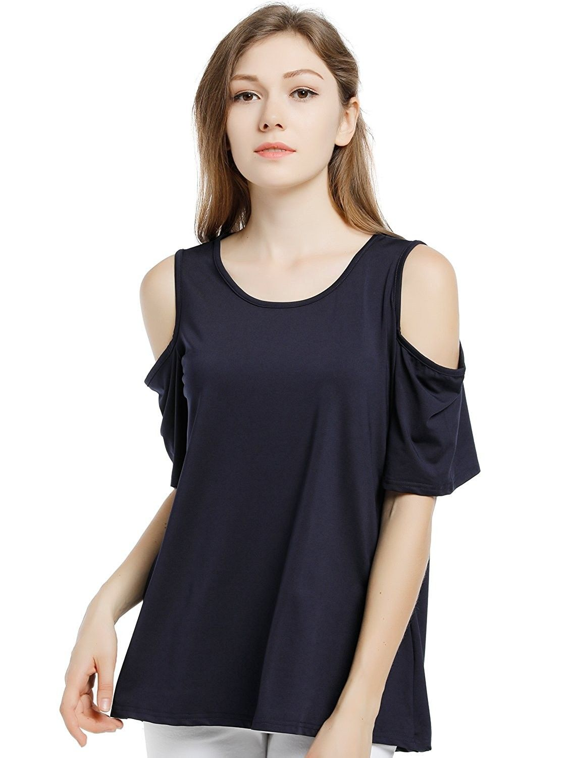 7fe4a0531269a0 Women s Casual Scoop Neck Short Flutter Sleeve Cold Shoulder Tops Blouse  Tee Shirt - Blue - CN182T8WYHY
