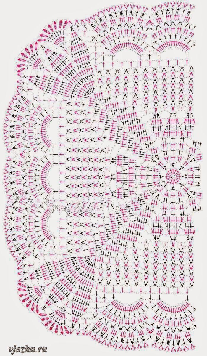 shema-vyazaniya-pochti-kvadratnoi-salfetki.jpg (700×1202)   crochet ...