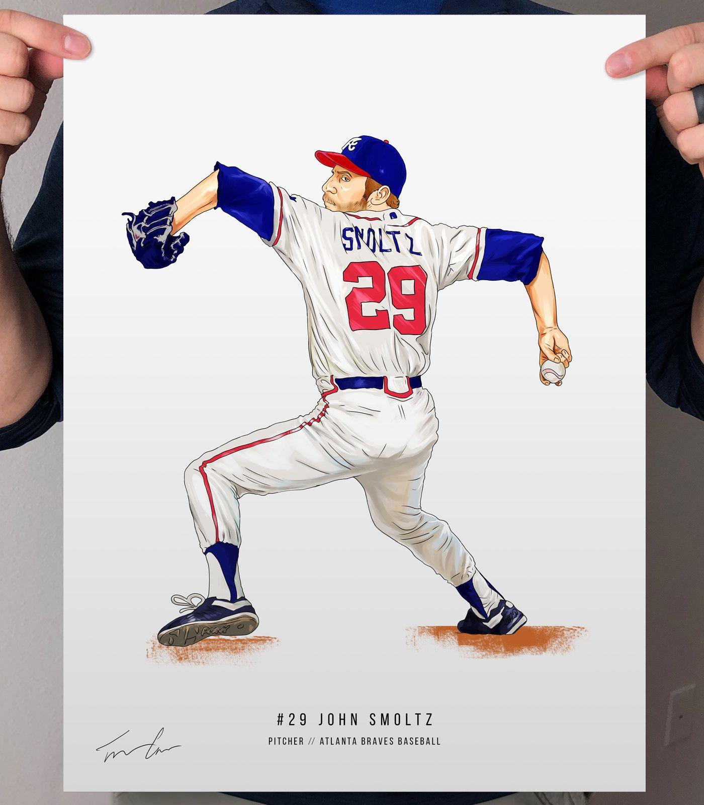 John Smoltz Atlanta Braves Baseball Print Illustrated Poster Etsy In 2020 Atlanta Braves Baseball Braves Baseball Atlanta Braves