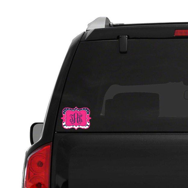Pretty monogram sticker chevron car sticker black and white chevron with pink clover personalized decals stickers for tablets by tgtldecals on etsy