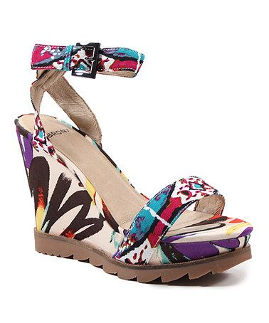 Take a look at this Lipstick La Tee Da Wedge Sandal by Bronx on #zulily today!