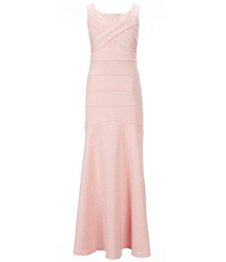 848a3fcd760 Honey and Rosie Big Girls 7-16 Crisscross Banded Scuba Long Dress ...