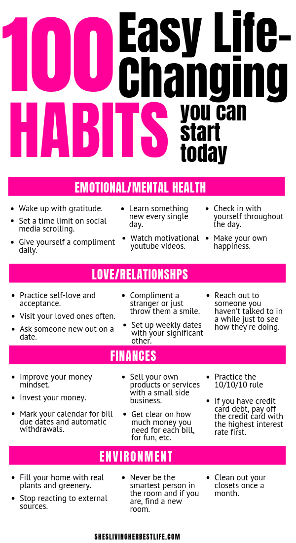 100 easy habits that you can start today that will make a huge difference in your personal development finances physical health mental health and so much more