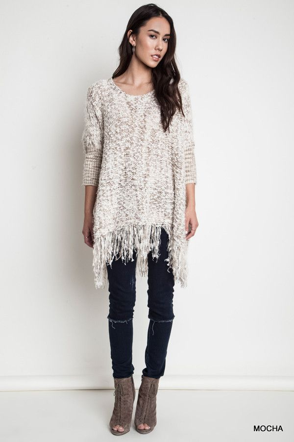 Frayed Hem Chunky Knit Sweater - Mocha