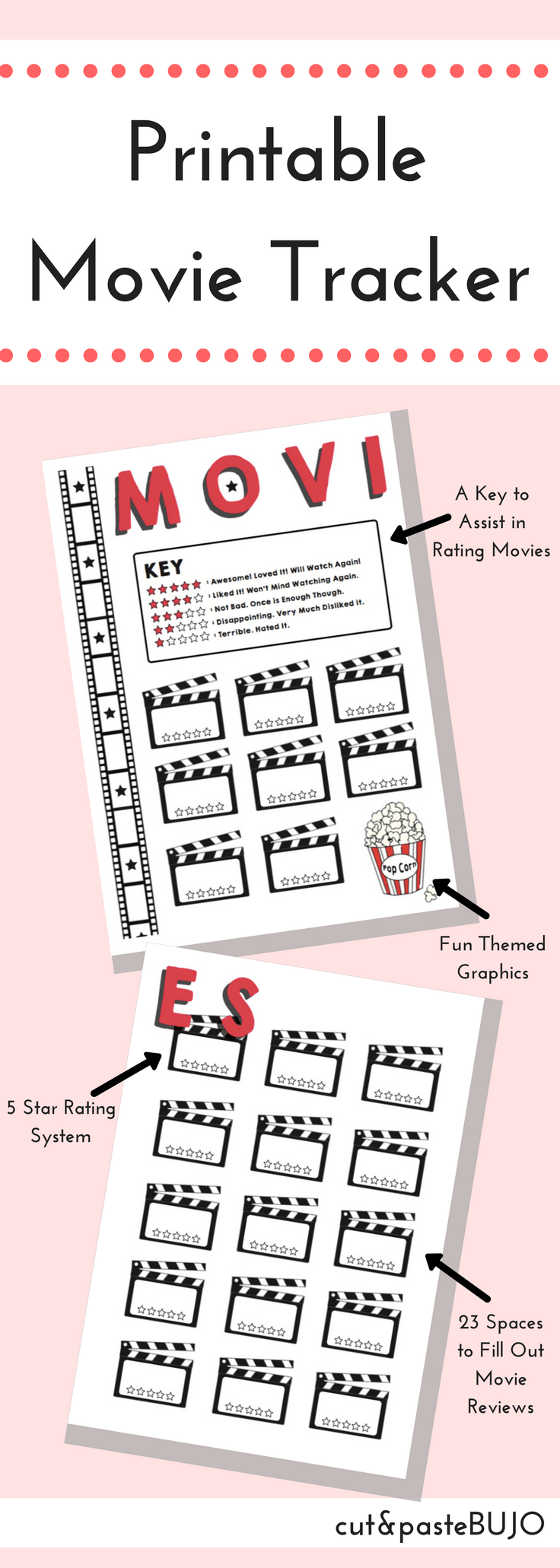 Printable Movie Tracker Movie Tracker Bullet Journal Printable 2 Printable Pages Created By Cutandpastebujo Movie Tracker Bullet Journal Films Movie Bullet