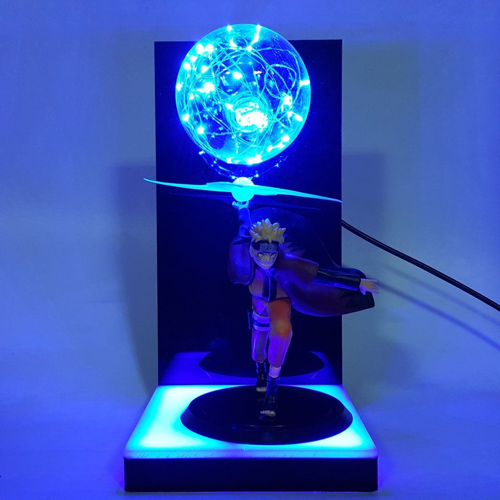 Naruto Rasen Shuriken Blue Lamp Escultura Modelagem Decoracao Anime
