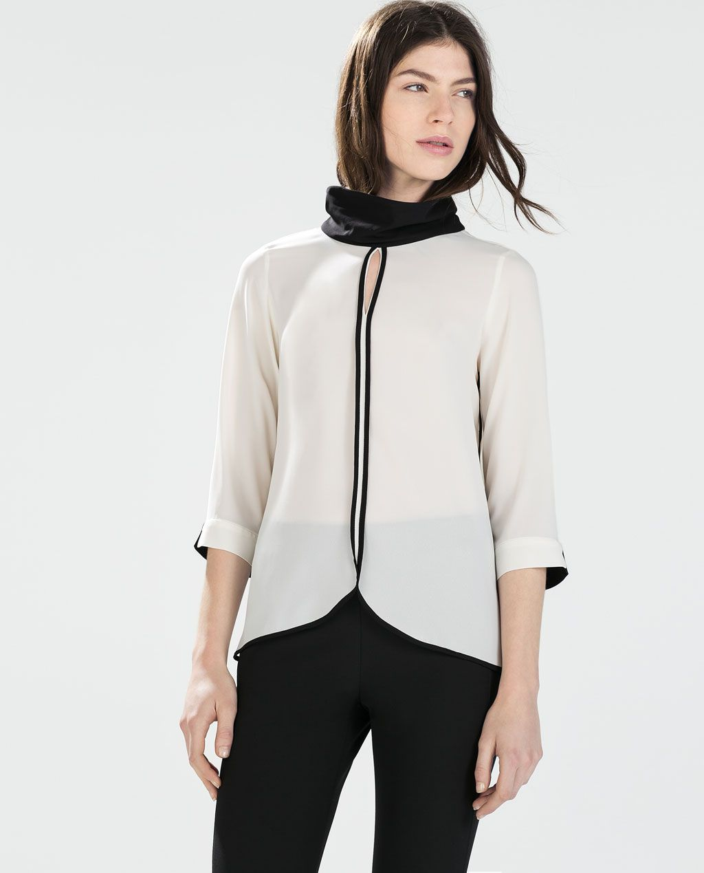 8744d1eeb2fde6 BLOUSE WITH HIGH COLLAR-Tops-WOMAN | ZARA United States | I mean ...